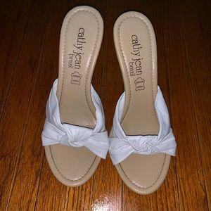 Cathy Jean Stiletto Mule White Leather Knot Heel 8